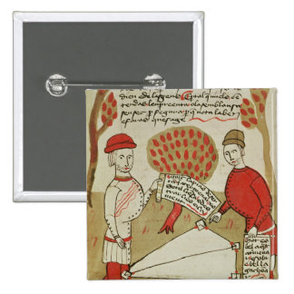 Demarcation of land, from 'Traite d'Arpentage' 2 Inch Square Button