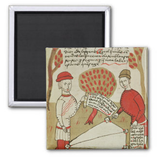Demarcation of land, from 'Traite d'Arpentage' 2 Inch Square Magnet