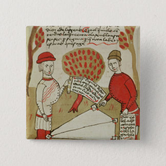 Demarcation of land, from 'Traite d'Arpentage' Pinback Button