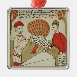 Demarcation of land, from 'Traite d'Arpentage' Square Metal Christmas Ornament