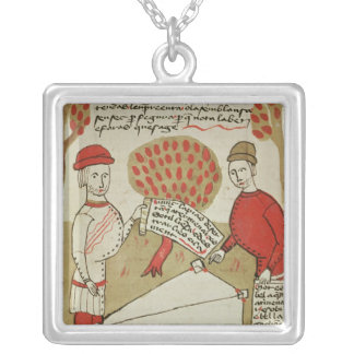 Demarcation of land, from 'Traite d'Arpentage' Square Pendant Necklace