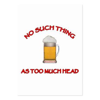 Demasiada cabeza - cerveza tarjetas de visita