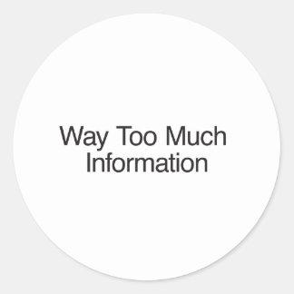Demasiada información etiqueta redonda