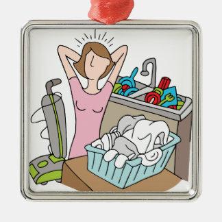 Demasiada mujer de las tareas adorno cuadrado plateado
