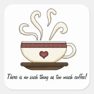 Demasiado café (personalizable) calcomania cuadradas personalizada