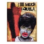 Demasiado collage del arte del Tequila Tarjeta Postal