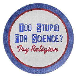 Demasiado estúpido para la ciencia platos para fiestas