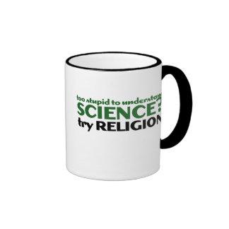 Demasiado estúpido para la ciencia taza de dos colores
