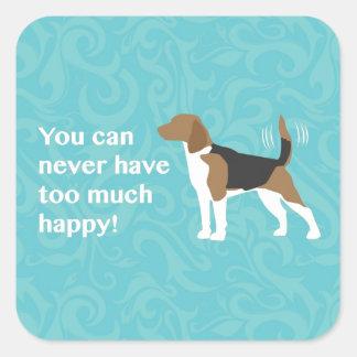 Demasiado feliz - beagle pegatina cuadradas personalizada