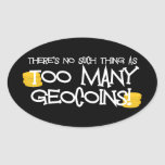 ¡Demasiado Geocoins! Calcomanías De Ovales