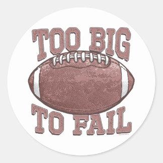 Demasiado grande fallar el engranaje del fútbol pegatinas redondas