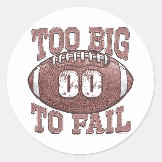 Demasiado grande fallar el engranaje del fútbol pegatina redonda
