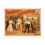 """""""Demasiado Johnson"""" - dos hombres que luchan el te Tarjetas Postales"""