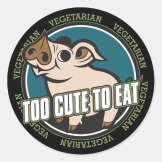 Demasiado lindo comer el cerdo pegatina redonda
