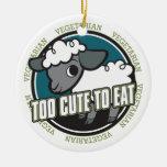 Demasiado lindo comer ovejas ornamento de navidad