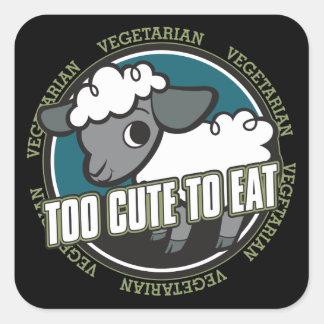 Demasiado lindo comer ovejas pegatina cuadrada
