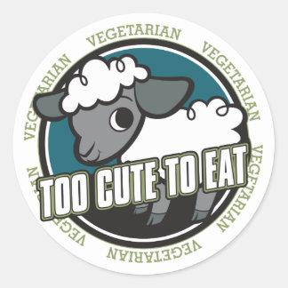 Demasiado lindo comer ovejas pegatina redonda