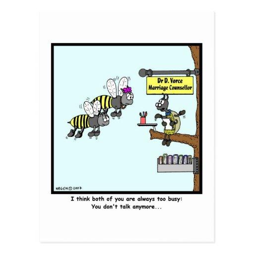 Demasiado ocupado: Dibujo animado de la abeja Tarjeta Postal