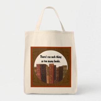demasiado tote de los libros bolsa tela para la compra