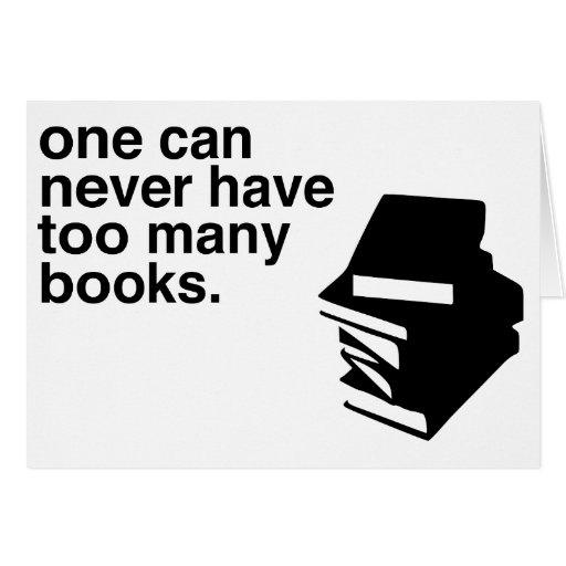 demasiados libros tarjeta de felicitación