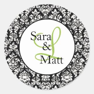 Demask Initial Monogram Wedding Sticker LABL001
