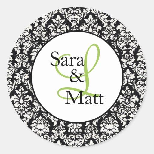 Demask Initial Monogram Wedding Sticker (#LABL001)