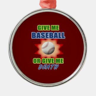 Déme el béisbol o déme la muerte ornamentos de navidad