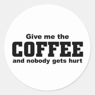 Déme el café pegatina redonda