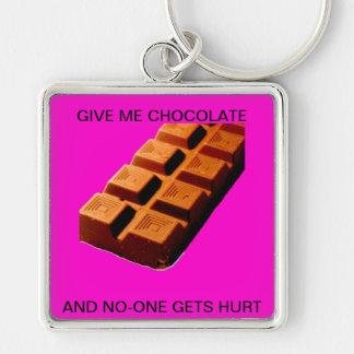 ¡DÉME EL CHOCOLATE!! LLAVERO CUADRADO PLATEADO