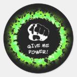 Déme el poder - verde pegatinas redondas