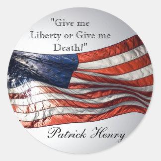 Déme la libertad o déme la muerte Patrick Henry Pegatinas Redondas