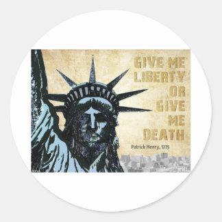 Déme la libertad etiquetas redondas