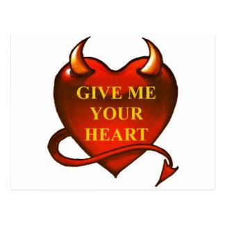 Déme su corazón postales