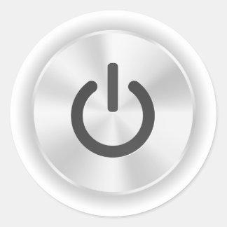 Déme vuelta en el botón divertido gris pegatina redonda