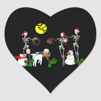 Demented Manger Scene Heart Stickers