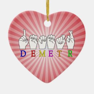 DEMETR ASL FINGERSPELLED NAME SIGN GODDESS CERAMIC ORNAMENT