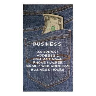 Demin Jeans Pocket & US Money Business Cards