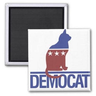 Democat funny cat 2 inch square magnet