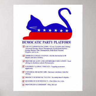 Democatic Party Platform Funny Political Cat Poster