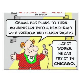 """Democracia Afganistán Chicago de SUG obama Invitación 4.25"""" X 5.5"""""""