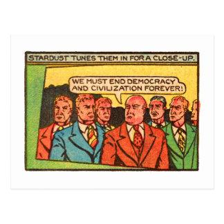 Democracia cómica del final de los chicos malos tarjeta postal