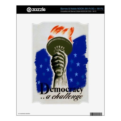"""Democracia del poster de WPA """"…. Un desafío """" Skins Para NOOK"""