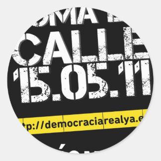 democracia real ya pegatina redonda