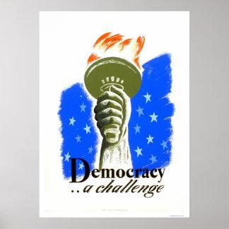 Democracia un desafío WPA 1940 Poster