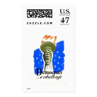 Democracia un desafío WPA 1940 Sellos Postales