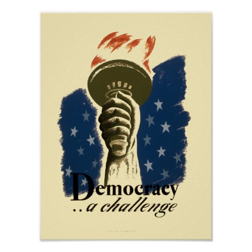 Democracy...A Challenge vintage WPA