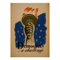 Democracy A Challenge WPA Vintage Poster