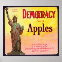 Democracy Apple Crate LabelDufur, OR
