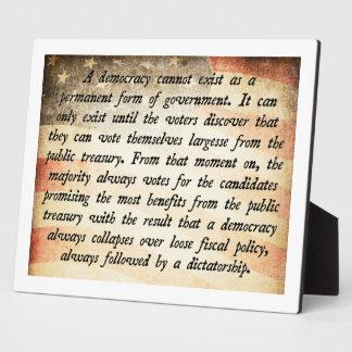 Democracy Cannot Exist Quote Plaque