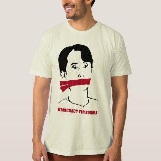 Democracy For Burma Stencil (w/red & text) Tee Shirt